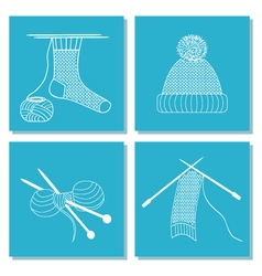 Set of cards with knitting needles sock scarf hat vector