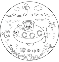 Coloring submarine under water vector