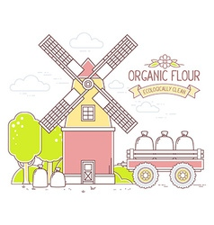 Color yellow and red windmill and green vector