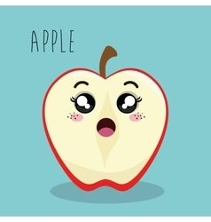 Cartoon apple slice fruit facial expression design vector