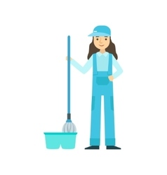 Girl with mop washing the floor cleaning service vector