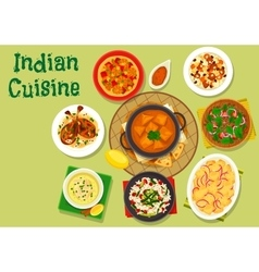 Indian cuisine spicy dinner icon for menu design vector