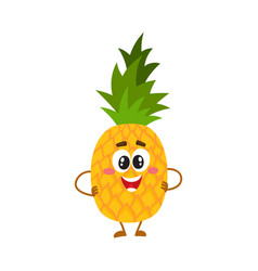 Pineapple character with smiling face standing vector