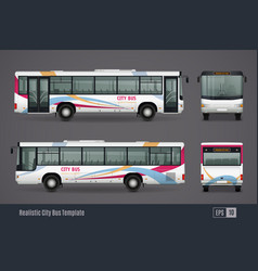 City bus colored realistic images vector