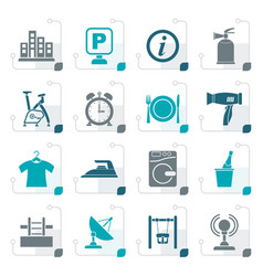 Stylized hotel and travel icons vector