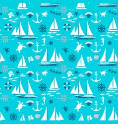 Blue nautical seamless pattern vector