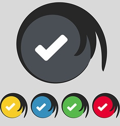 Check mark tik icon sign symbol on five colored vector