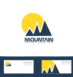 Mountain sun blue yellow logo vector