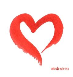 Watercolor red heart vector