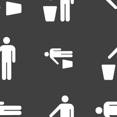 Throw away the trash icon sign seamless pattern on vector