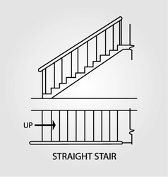Top view and front view of a straight staircase vector