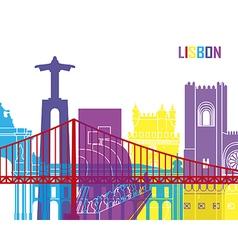 Lisbon skyline pop vector image