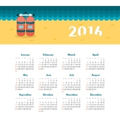 Sea calendar for 2016 week starts sunday vector
