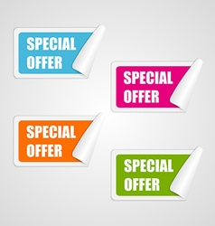 Set colorful square special offer stickers vector