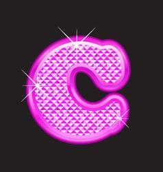 C letter pink bling vector