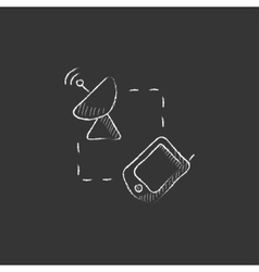 Navigator and satellite dish drawn in chalk icon vector