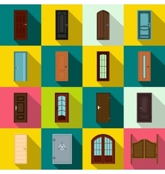 Doors icons set flat style vector