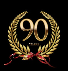 90 years anniversary laurel wreath vector