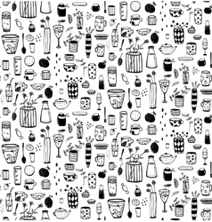 Dishware doodles black on white sketchy naive vector