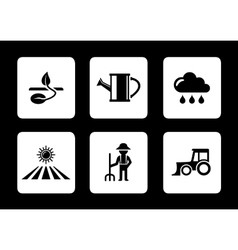 Agriculture six icons vector