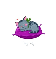 Cute cartoon striped gray cat on a purple cushion vector