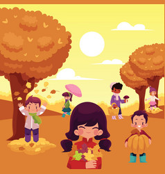 Cartoon kids enjoy autumn activities outdoors vector