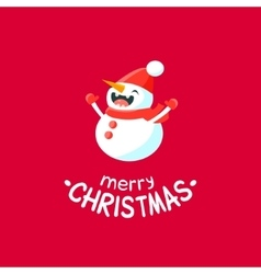 Cheerful Christmas card with Snowman vector image vector image
