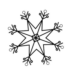 christmas snowflake snow winter element outline vector image