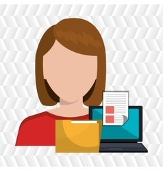 computer user filing documents isolated icon vector image