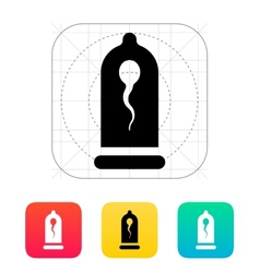 Condom with spermatozoid icon vector
