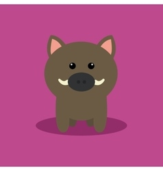 Cute Cartoon Wild Pig vector image