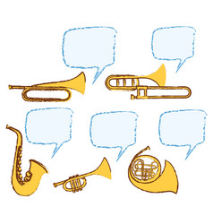 different musical instruments with bubble speech vector image vector image