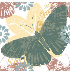 elegant pattern with butterfly and floral vector image