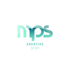 green gradient pastel modern mps m p s alphabet vector image vector image