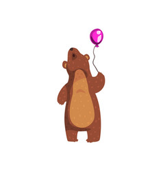 Grizzly bear standing with purple glossy balloon vector