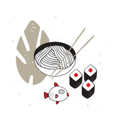 Hand drawn noodles bowl with chopsticks sushi fish vector