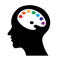 head with brain as palette vector image vector image