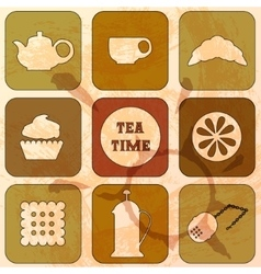 Icons tea time set of 9 icons grunge background vector
