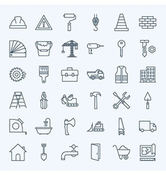 Line Construction Tools Icons Set vector image vector image