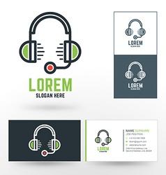 Logo template headphones with microphone hotline vector