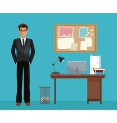 Man glasses office work space desk notice board vector
