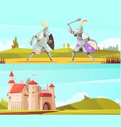 Medieval horizontal cartoon banners set vector