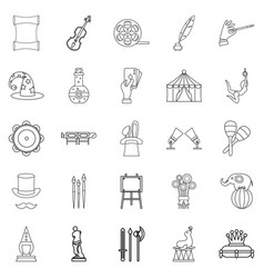 Picture show icons set outline style vector
