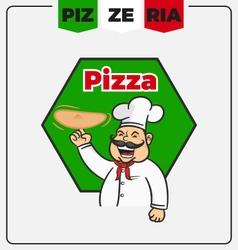 Pizzeria mascot logo template vector