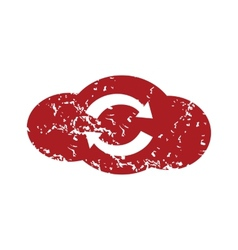 Red grunge reverse cloud logo vector image vector image