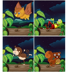 Scenes with animals at night vector