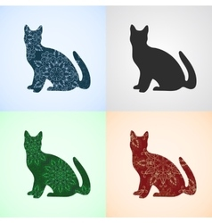 Set from cat with mandala patterns vector