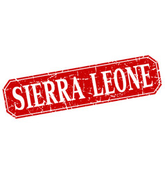 Sierra leone red square grunge retro style sign vector
