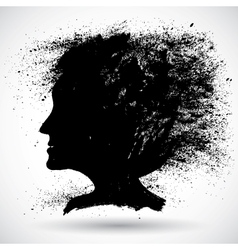 Soft woman silhouette in grunge style vector