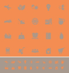 Supply chain and logistic color icons on orange vector